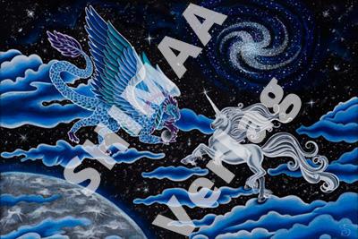 Bild Mondscheinlicht - Drache und Einhorn vereint